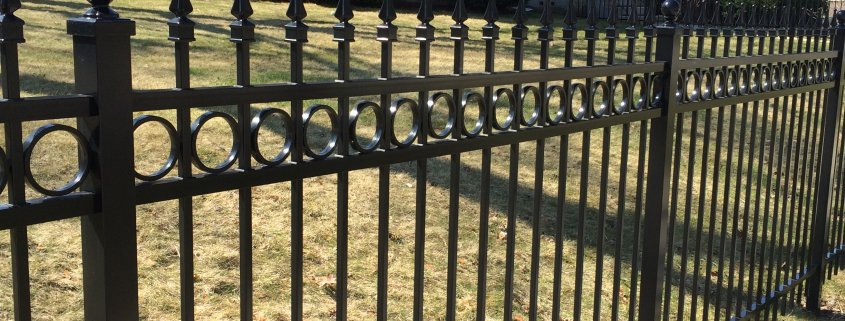 BLACK GENESIS STYLE ALUMINUM ORNAMENTAL WITH FINIALS AND DOUBLE RINGS